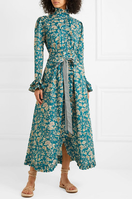 Evi Grintela Gisele Ruffled Floral-print Cotton Maxi Dress - Blue