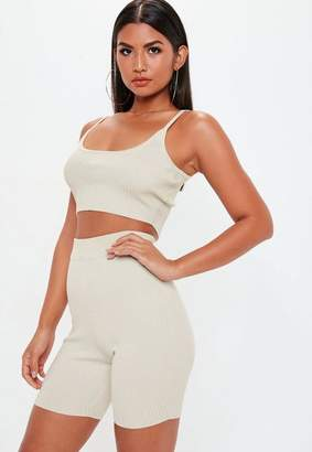 Missguided Stone Strappy Knit Ribbed Crop Top Co Ord