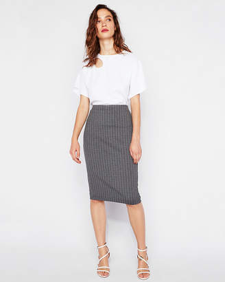 Express High Waisted Striped Clean Front Pencil Skirt