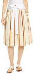Tory Burch Stripe Tie Waist Cotton Skirt