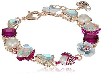 Betsey Johnson Stone and White Flower Link Bracelet