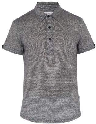 Orlebar Brown Sebastian Striped Linen Polo Shirt - Mens - Navy