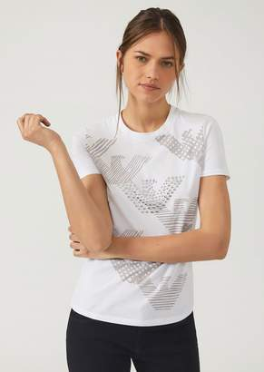Emporio Armani Jersey T-Shirt With Logo Print And Studded Eagle