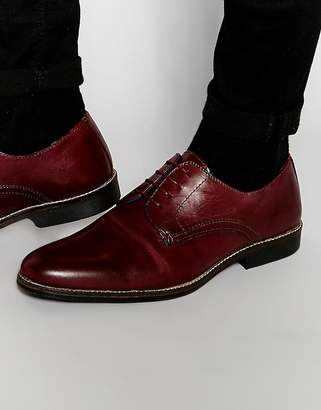 Red Tape Lace Up Shoes In Burgundy Leather