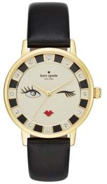 Kate Spade Metro Wink Goldtone Black Leather Strap Watch, KSW1052