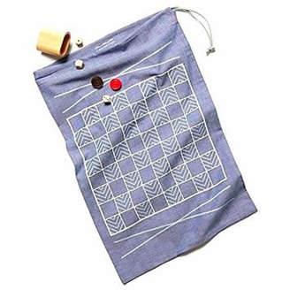 Studio Nicco Travel Backgammon & Checkers, Chambray Game-bag Set - White