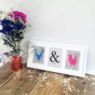 Elsa & Winnie Stag And Hen Typography Wedding Print