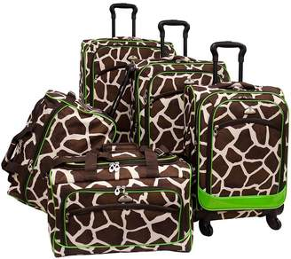 American Flyer Animal Print 5-Piece Spinner Luggage Set