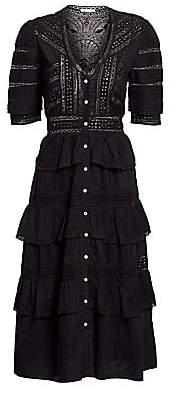 LoveShackFancy Women's Rebecca Eyelet Ruffle Dress