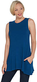 LOGO by Lori Goldstein Rib Knit Swing Tank withPockets