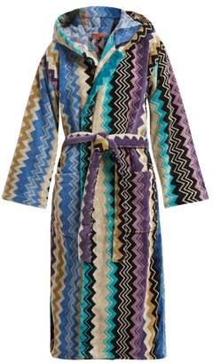 Missoni Home - Zigzag Hooded Cotton Robe - Womens - Blue Multi