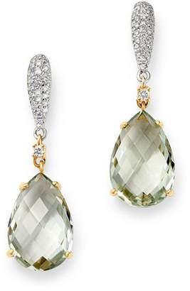 Bloomingdale's Prasiolite & Diamond Drop Earrings in 14K White & Yellow Gold - 100% Exclusive