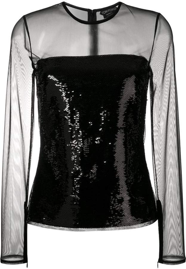 Tom Ford sheer sequin top
