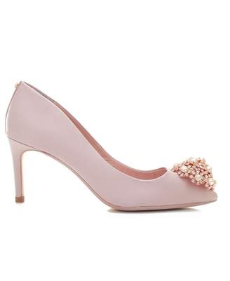 Ted Baker Brooch Front Mid Heel Satin Shoes