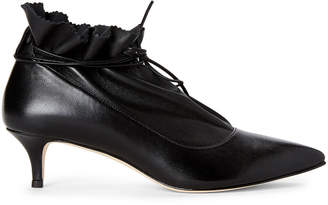 Alexander White Black Narissa Ankle-Wrap Leather Booties