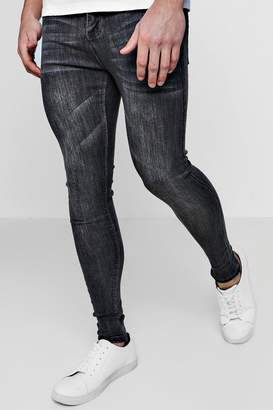 boohoo Grey Wash Spray On Skinny Jeans