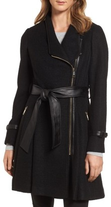 Women's Guess Belted Boiled Wool Blend Coat $258 thestylecure.com