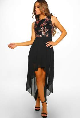 c58a2ea9 Pink Boutique Dress To Impress Black Sequin Chiffon Dip Hem Dress