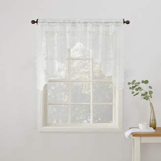 No918 Alison Floral Lace Sheer Kitchen Curtain Swag Valance Pair