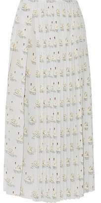 Stella McCartney Domiziana Pleated Printed Silk Crepe De Chine Midi Skirt