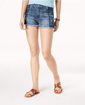 American Rag Juniors' Ripped Raw-Edged Two-Tone Denim Shorts, Created for Macy's