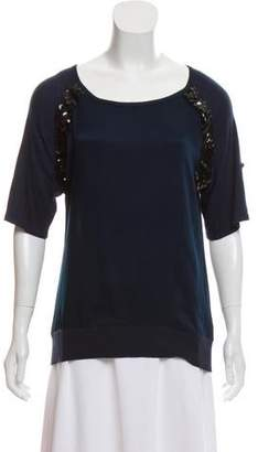 Magaschoni Sequined Quarter Sleeves Top