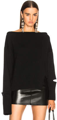 Helmut Lang Distressed Off Shoulder Sweater