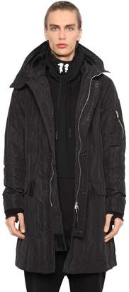 11 By Boris Bidjan Saberi Hooded Wrinkled Nylon Parka Jacket