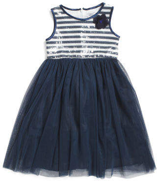 Little Girls Nautical Stripe Special Occasion Dress