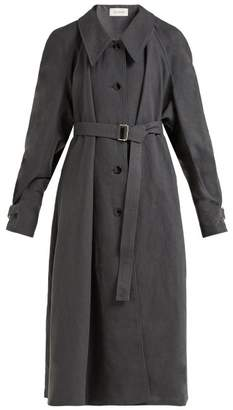Lemaire Belted Long Line Linen Cotton Blend Coat - Womens - Dark Grey