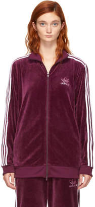 adidas Burgundy Velour BB Track Jacket