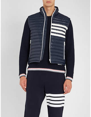 Thom Browne Contrast striped quilted shell-down jacket