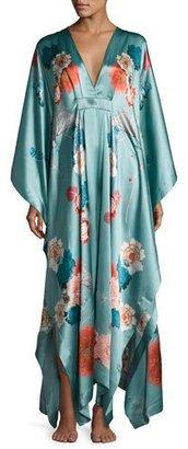 Meng V-Neck Floral-Print Silk Caftan, Light Green $1,250 thestylecure.com