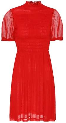 ALEXACHUNG Smocked georgette dress