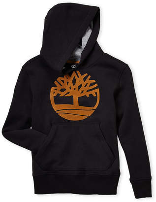 Timberland Boys 8-20) Black Flocked Logo Hoodie