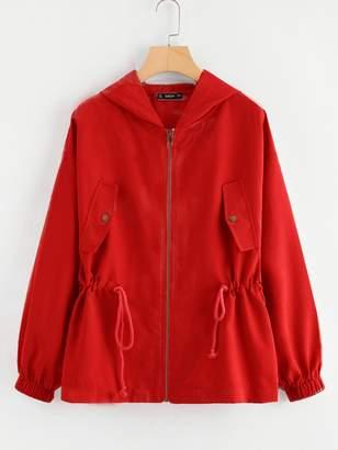 Shein Drawstring Waist Hooded Jacket