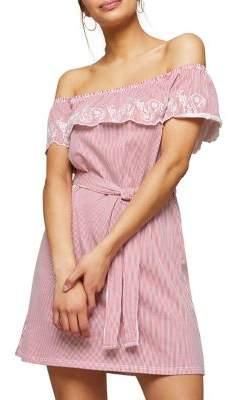 Miss Selfridge Striped Off-the-Shoulder Dress