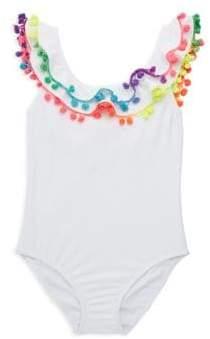 Pilyq Toddler's, Little Girl's& Girl's Pom-Pom One-Piece Swimsuit