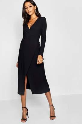 boohoo Tall Rib Wrap Jersey Dress