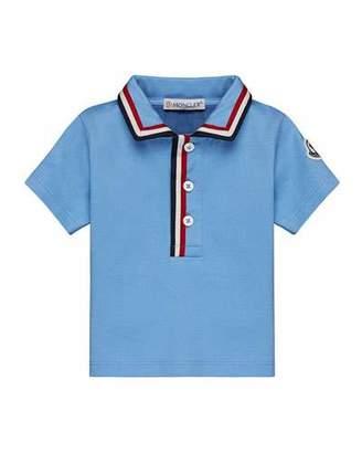 Moncler Short-Sleeve Jersey Polo Shirt w/ Flag Trim, Size 12M-3T