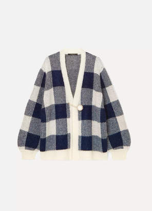 Mother of Pearl Blake Checked Jacquard-knit Cardigan - Navy