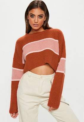 Missguided Tan Colourblock Striped Brushed Cropped Sweater