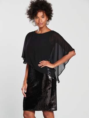 Wallis Sequin Asymmetric Overlayer Dress - Black