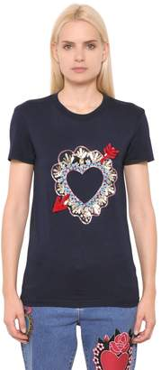 House of Holland Heart Embroidered Cotton Jersey T-shirt