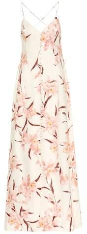 Corsage linen maxi dress