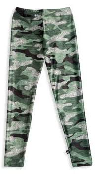 Terez Little Girl's& Girl's Glitter Print Camo Leggings