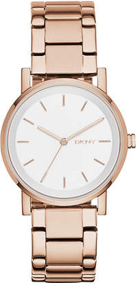 DKNY Women Soho Rose Gold-Tone Stainless Steel Bracelet Watch 34mm