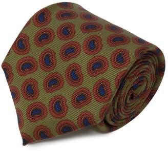 Serà Fine Silk - Green And Blue Big Paisley Print Silk Tie
