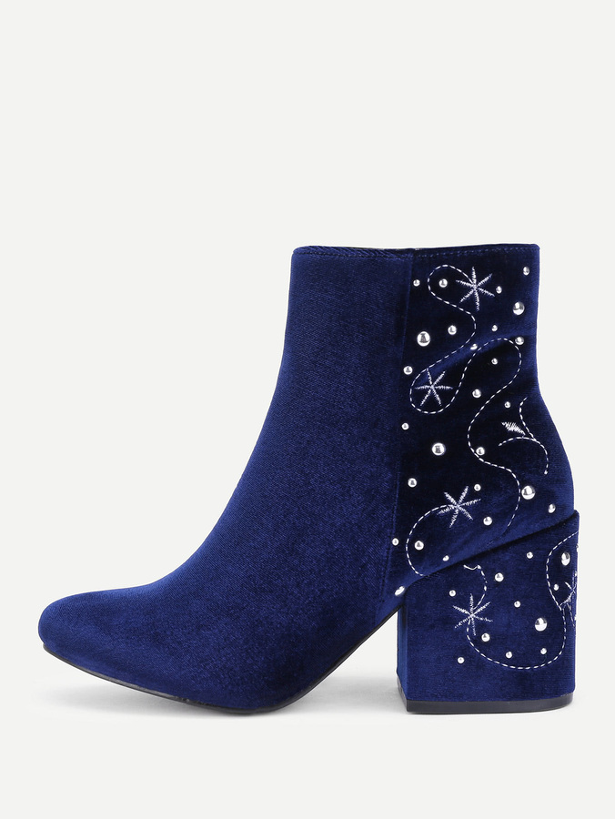Embroidery & Rhinestone Detail Suede Boots