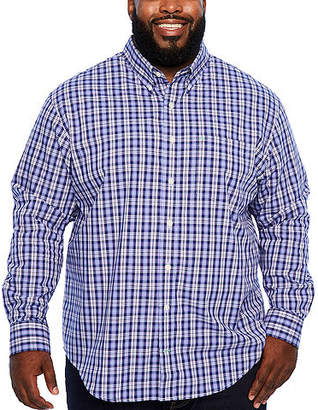 Izod Ls Premium Essentials Long Sleeve Plaid Button-Front Shirt-Big and Tall
